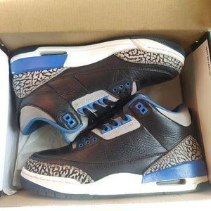 Jordan retro 3 black & blue concrete nice 7.5 mens